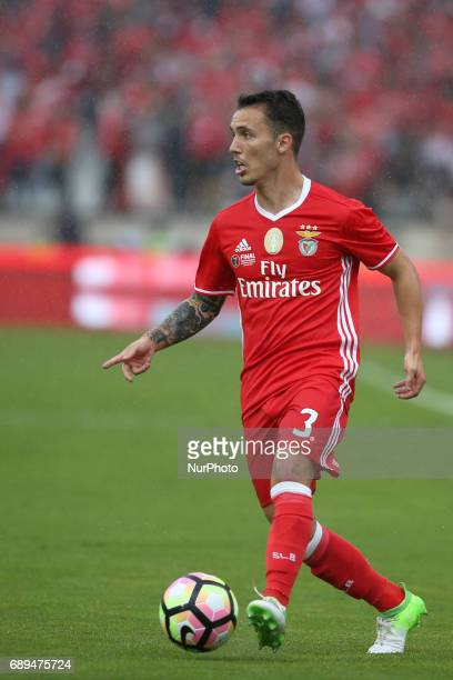 Benfica's Spanish defender Alejandro Grimaldo in action during the Portugal Cup Final football match SL Benfica vs Vitoria Guimaraes SC at Jamor...