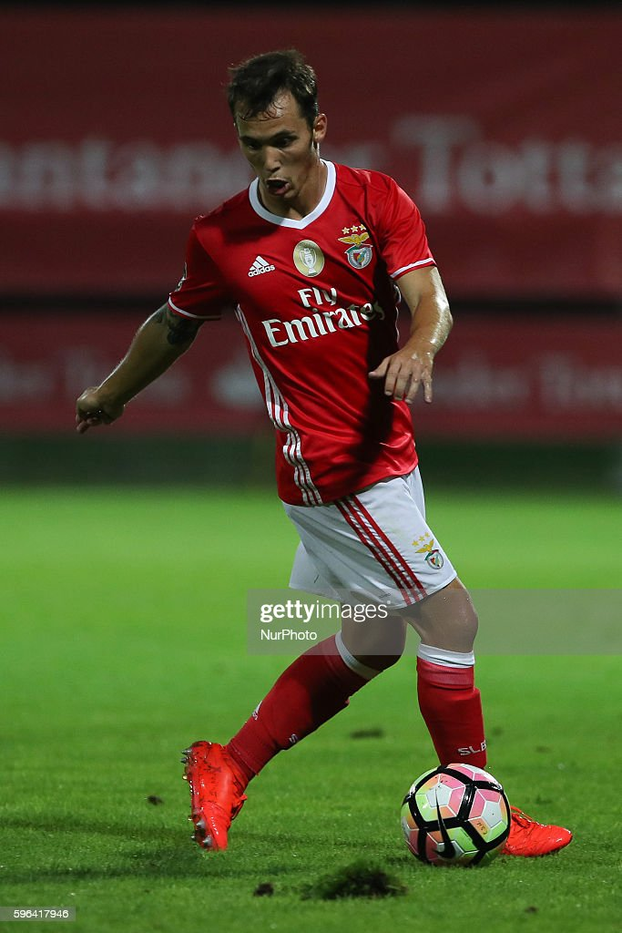 Benfica's Spanish defender Alex Grimaldo in action during Premier League 2016/17 match between CD Nacional and SL Benfica at Choupana Stadium in...
