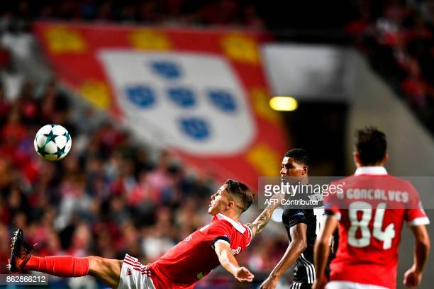 Benfica's Spanish defender Grimaldo Garcia kicks the ball during the UEFA Champions League group A football match SL Benfica vs Manchester United FC...