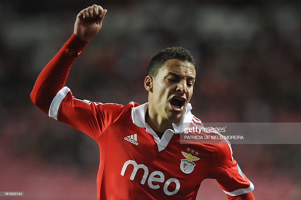 Benfica's Spanish forward Rodrigo Moreno Machado reacts after missing a goal opportunity against Academica during the Portuguese League football match at Luz Stadium in Lisbon on February 17, 2013.