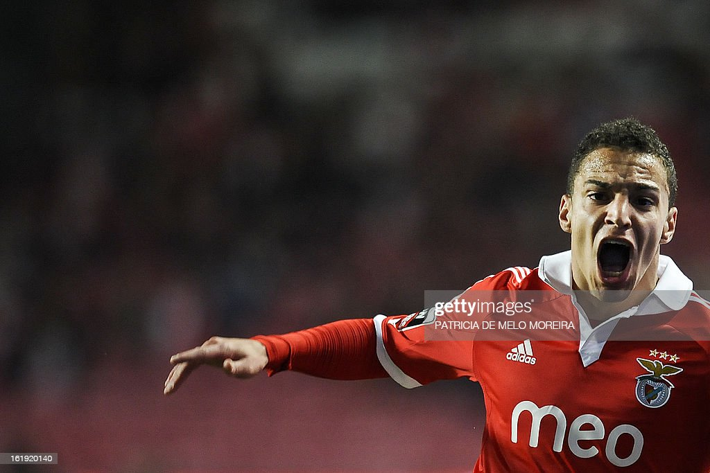 Benfica's Spanish forward Rodrigo Moreno Machado reacts after missing a goal opportunity against Academica during a Portuguese League football match at Luz Stadium in Lisbon on February 17, 2013.