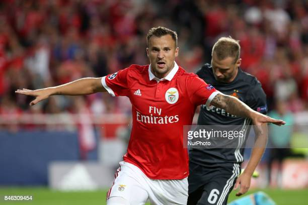 Benfica's Suisse forward Haris Seferovic celebrates after scoring a goal during UEFA Champions League football match SL Benfica vs CSKA Moscow at the...
