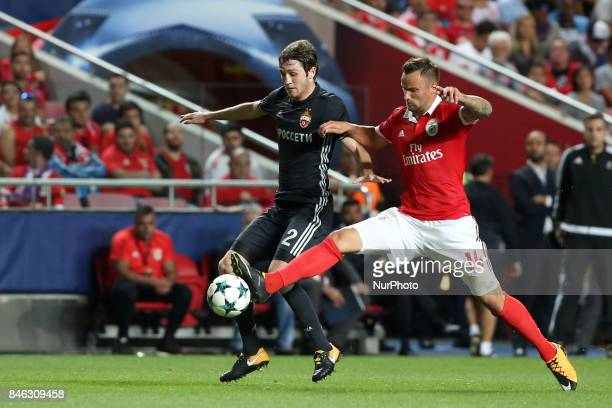 Benfica's Suisse forward Haris Seferovic fights for the ball with CSKA's defender Mario Fernandes during UEFA Champions League football match SL...