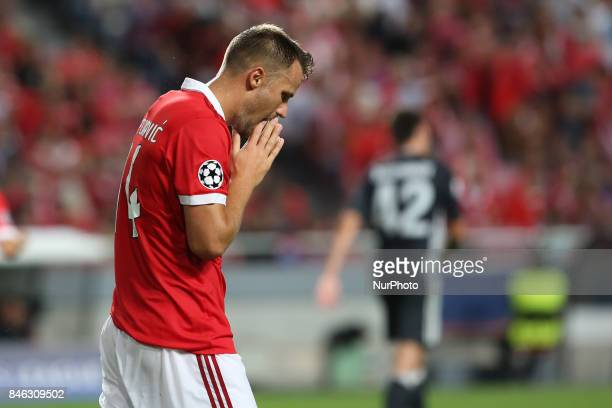 Benfica's Suisse forward Haris Seferovic reacts during UEFA Champions League football match SL Benfica vs CSKA Moscow at the Luz stadium in Lisbon...