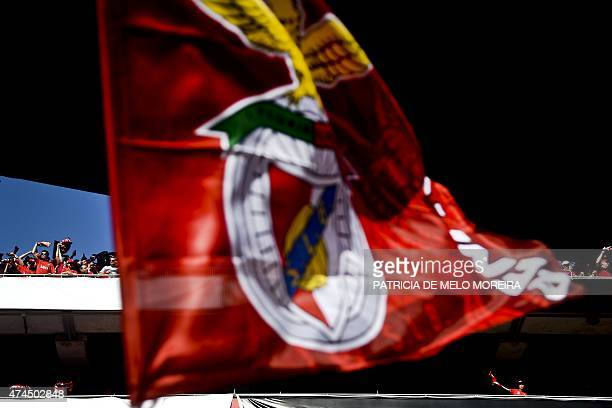 A Benfica's supporter waves a team flag as others cheer in the stands before the Portuguese league football match SL Benfica vs CS Maritimo at the...