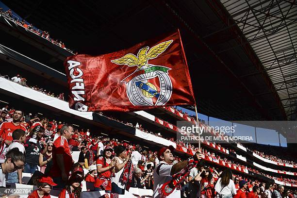 A Benfica's supporter waves a team flag before the Portuguese league football match SL Benfica vs CS Maritimo at the Luz stadium in Lisbon on May 23...