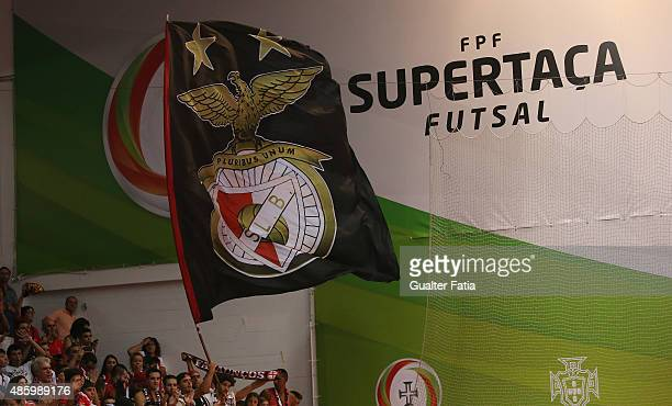 Benfica's supporters during the Futsal Super Cup match between SL Benfica and AD Fundao at Pavilhao Dr Salvador Machado on August 30 2015 in Oliveira...