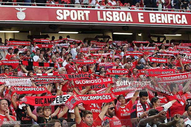 Benfica's supporters during the match between SL Benfica and Vitoria Setubal FC for the Portuguese Primeira Liga at Estadio da Luz on August 21 2016...