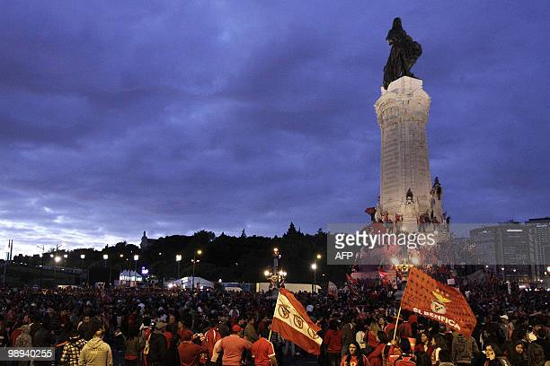Benfica's supporters gather at Marques de Pombal square in downtown Lisbon on May 9 to celebrate their victory in the 2010 Portuguese League...