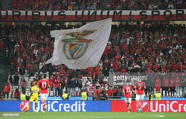Benfica's supporters in action during the UEFA Champions League match between SL Benfica and FC Astana at Estadio da Luz on September 15 2015 in...