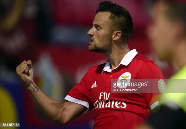 Benfica's Swiss forward Haris Seferovic celebrates after scoring a goal during the Portuguese league football match between GD Chaves and SL Benfica...