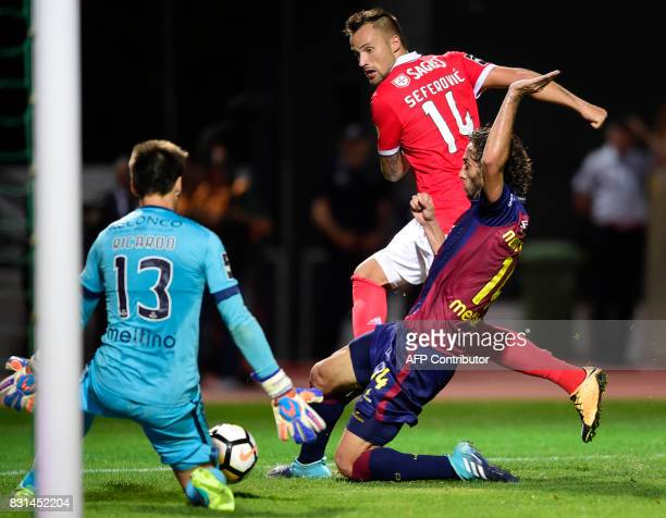 Benfica's Swiss forward Haris Seferovic kicks the ball to score a goal during the Portuguese league football match between GD Chaves and SL Benfica...