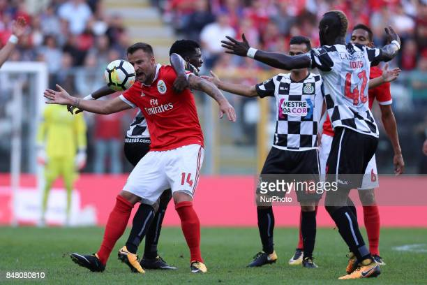 Benfica's Switzerland forward Haris Seferovic during the Premier League 2017/18 match between Boavista FC and SL Benfica at Bessa XXI Stadium in...