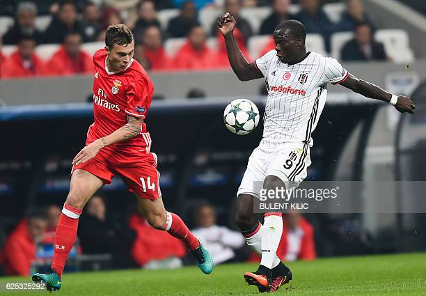 Benfica's Victor Nilsson Lindelof vies for the ball with Besiktas's Vincent Aboubakar during the UEFA Champions League group B football match at the...