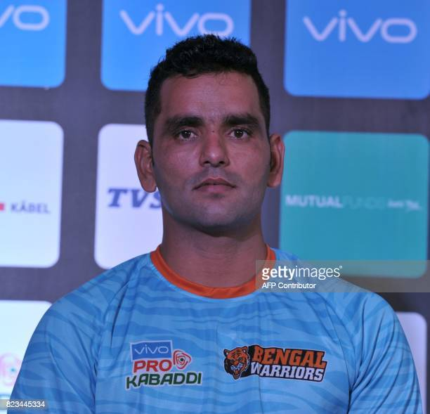 Bengal Warriors Team kabaddi captain Surjeet poses during an event for the fifth edition of the Pro Kabaddi League 2017 in Hyderabad on July 27 2017...