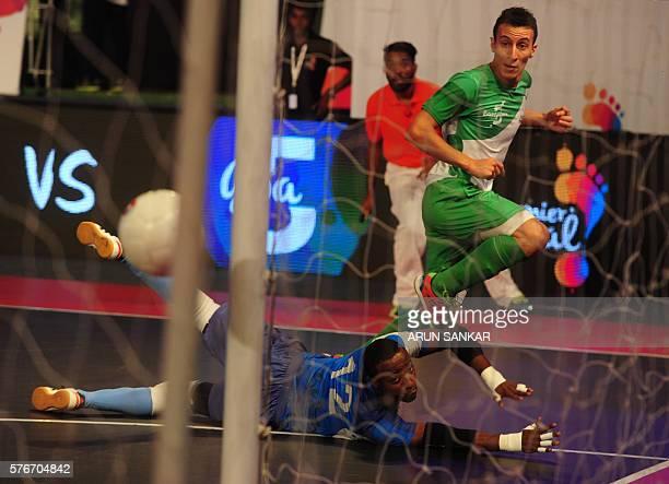 Bengaluru 5's Maxi scores a goal against the Goa 5's during their Premier Futsal Football League match in Chennai on July 17 2016 / AFP / ARUN SANKAR