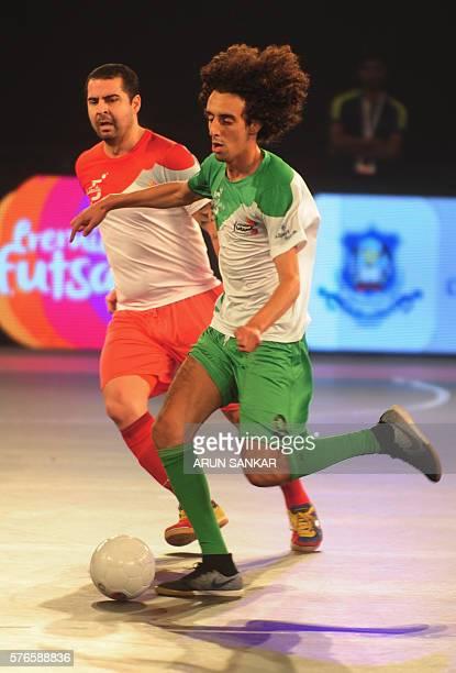 Bengaluru 5's Nabil plays against the Kolkata 5's during their Premier Futsal Football League match in Chennai on July 16 2016 / AFP / ARUN SANKAR