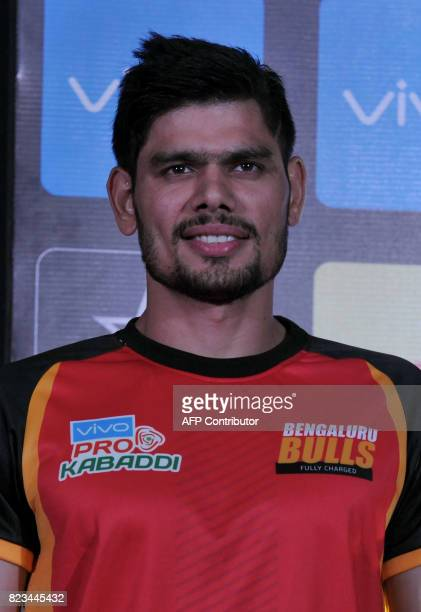 Bengaluru BullsTeam kabaddi captain Rohit Kumar poses during an event for the fifth edition of the Pro Kabaddi League 2017 in Hyderabad on July 27...