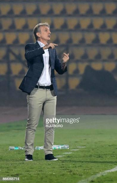 Bengaluru FCs head coach Albert Roca reacts during the Indian Super League football match between Northeast United FC and Bengaluru FC at the Indira...