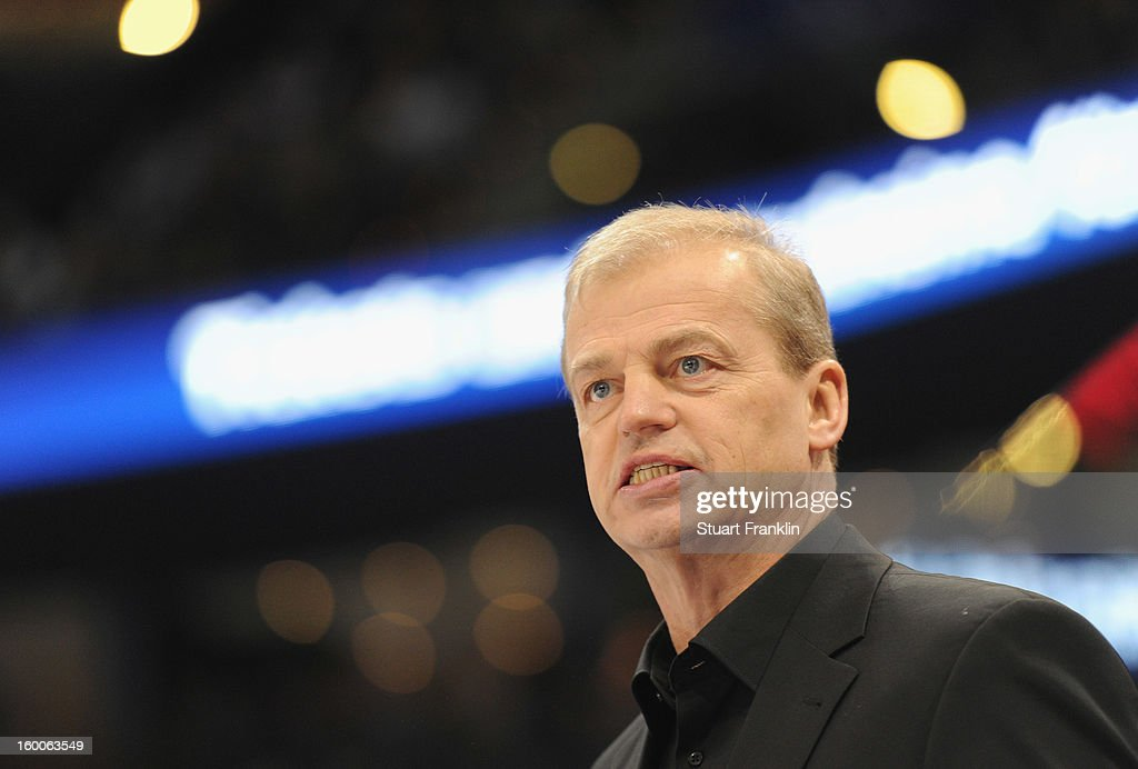 Bengt - Ake Gustafsson, head coach of the Ice Tiger ponders during the DEL game between Hamburg Freezers and Thomas Sabo Ice Tigers at O2 World on January 25, 2013 in Hamburg, Germany.