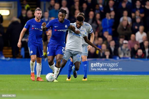Beni Baningime and Michy Batshuayi challenge for the ball during the Carabao Cup Fourth Round match between Chelsea and Everton at Stamford Bridge on...