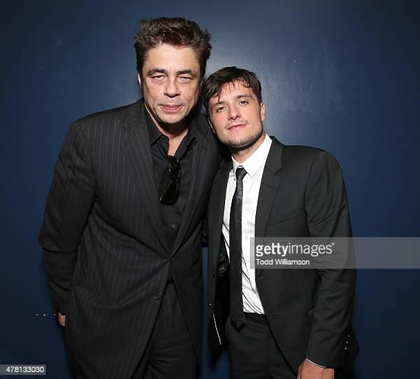 Benicio del Toro and Josh Hutcherson attend RADiUS' Los Angeles Premiere For 'Escobar Paradise Lost' In Partnership With Wood Vine on June 22 2015 in...