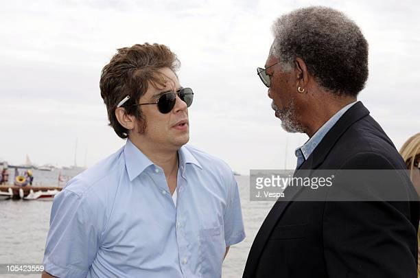 Benicio Del Toro and Morgan Freeman during 2005 Cannes Film Festival Miramax Luncheon Inside at The Majestic in Cannes France