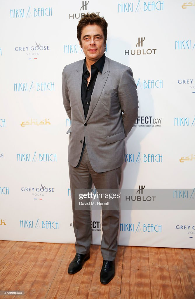 Benicio del Toro attends the 'A Perfect Day' party hosted by GREY GOOSE at Nikki Beach on May 16, 2015 in Cannes, France.