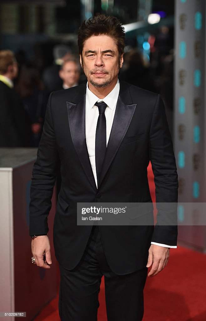 Benicio del Toro attends the EE British Academy Film Awards at the Royal Opera House on February 14 2016 in London England