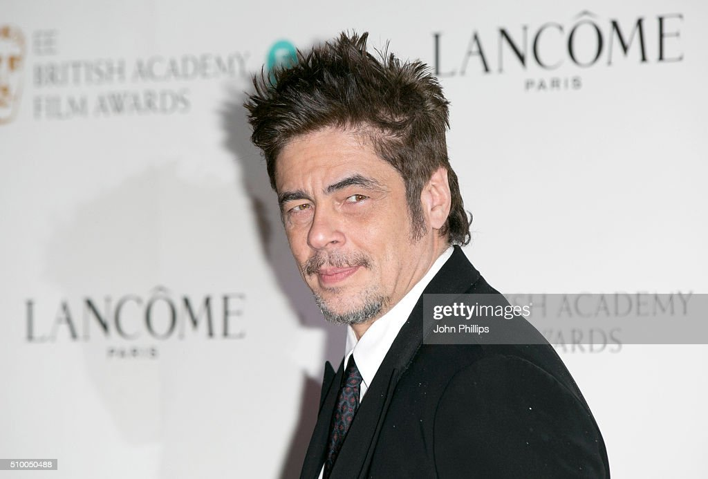 Benicio del Toro attends the Lancome BAFTA nominees party at Kensington Palace on February 13, 2016 in London, England.