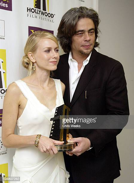 Benicio Del Toro Naomi Watts during Hollywood Film Festival's Gala Ceremony at The Beverly Hilton Hotel in Beverly Hills CA United States