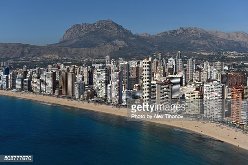 Benidorm cityscape alicante spain stock photo getty images - Stock uno alicante ...