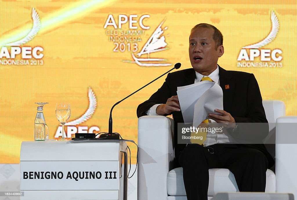 Benigno Aquino, president of the Philippines, speaks during a panel discussion at the Asia-Pacific Economic Cooperation (APEC) CEO Summit in Nusa Dua, Bali, Indonesia, on Sunday, Oct. 6, 2013. Global growth will probably be slower and less balanced than desired, ministers from the APEC member economies said as they agreed to refrain from raising new barriers to trade and investment. Photographer: SeongJoon Cho/Bloomberg via Getty Images