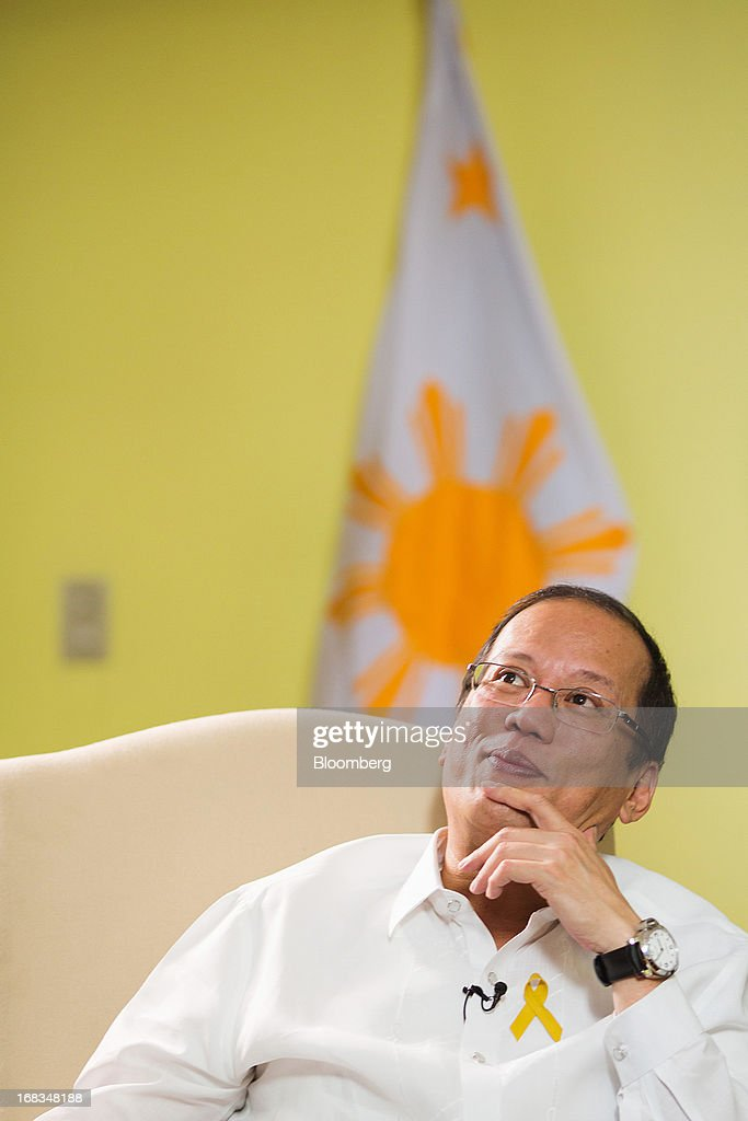Benigno Aquino, the Philippines' president, reacts during an interview in the Malacanang Palace compound in Manila, the Philippines, on Wednesday, May 8, 2013. The Philippines, Asia's fastest-growing economy after China, needs to do more to finally lose its decades-old tag as the 'Sick Man of Asia,' according to Aquino. Photographer: Julian Abram Wainwright/Bloomberg via Getty Images