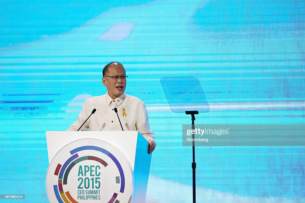 Benigno Aquino, the Philippines' president, speaks at the Asia-Pacific Economic Cooperation (APEC) CEO Summit in Manila, the Philippines, on Monday, Nov. 16, 2015. With seven months left in office, Aquino is taking measures to strengthen his infrastructure legacy and boost the resilience of one of Asias fastest-growing economies. Photographer: SeongJoon Cho/Bloomberg via Getty Images