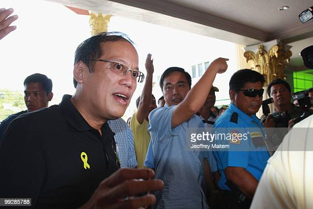 Benigno 'Noynoy' Aquino is seen during a press briefing as he is unofficially announced as the 15th President of the Philippines on May 14 2010 in...