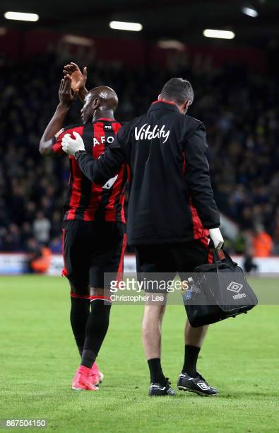 Benik Afobe of AFC Bournemoth shows appreciation to the fans as he is forced off with a injury during the Premier League match between AFC...