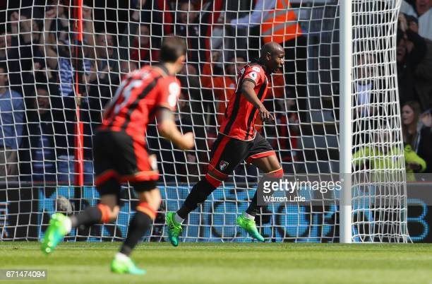 Benik Afobe of AFC Bournemouth celebrates after scoring his sides second goal during the Premier League match between AFC Bournemouth and...