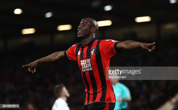 Benik Afobe of AFC Bournemouth celebrates scoring his sides second goal during the Premier League match between AFC Bournemouth and Swansea City at...