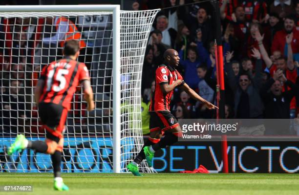 Benik Afobe of AFC Bournemouth celebrates scoring his team's second goal during the Premier League match between AFC Bournemouth and Middlesbrough at...