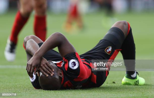Benik Afobe of AFC Bournemouth goes down injured during the Premier League match between AFC Bournemouth and Watford at Vitality Stadium on August 19...