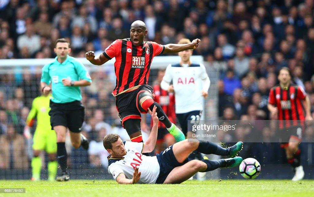 Benik Afobe of AFC Bournemouth is fouled by Jan Vertonghen of Tottenham Hotspur during the Premier League match between Tottenham Hotspur and AFC Bournemouth at White Hart Lane on April 15, 2017 in London, England.