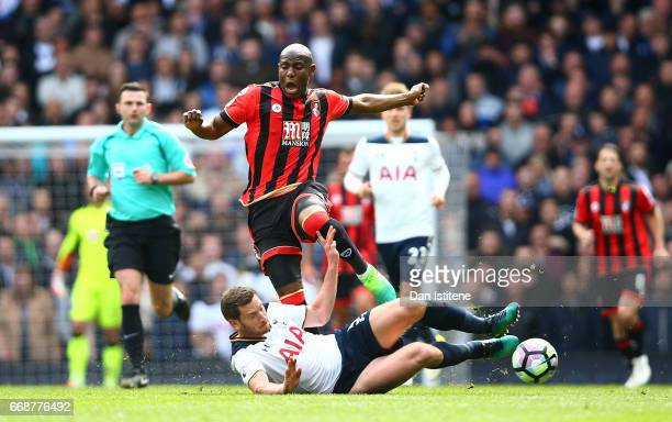 Benik Afobe of AFC Bournemouth is fouled by Jan Vertonghen of Tottenham Hotspur during the Premier League match between Tottenham Hotspur and AFC...