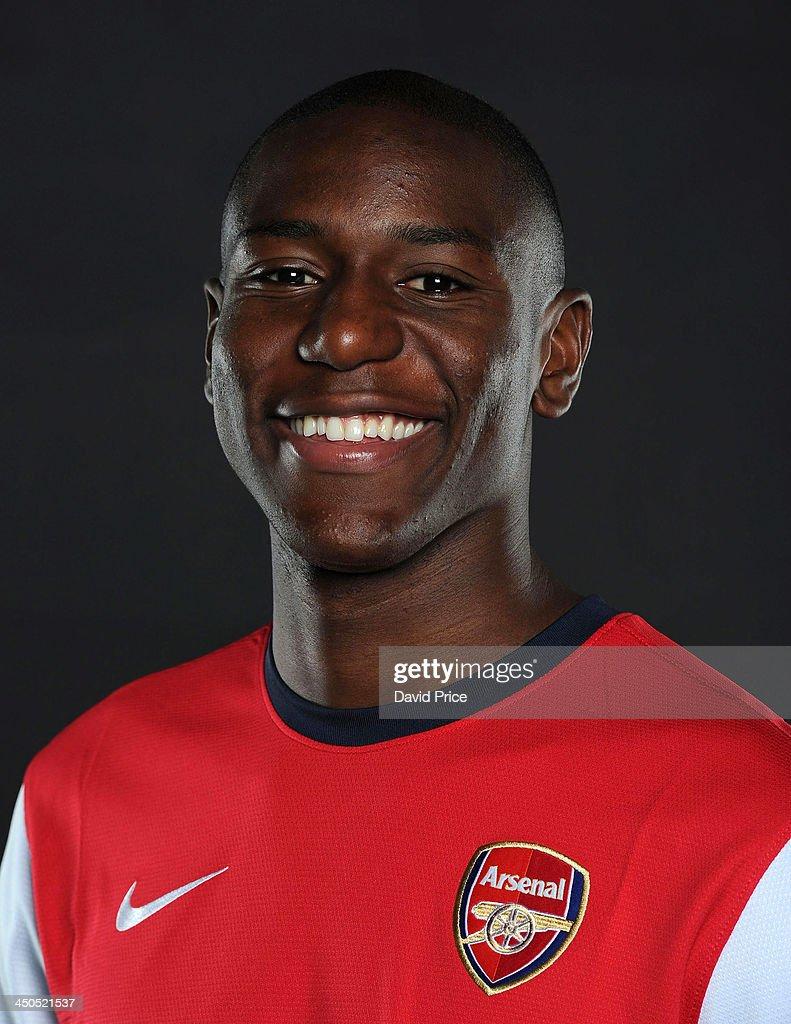 Benik Afobe of Arsenal during a Arsenal Magazine photoshhot at London Colney on November 19, 2013 in St Albans, England.