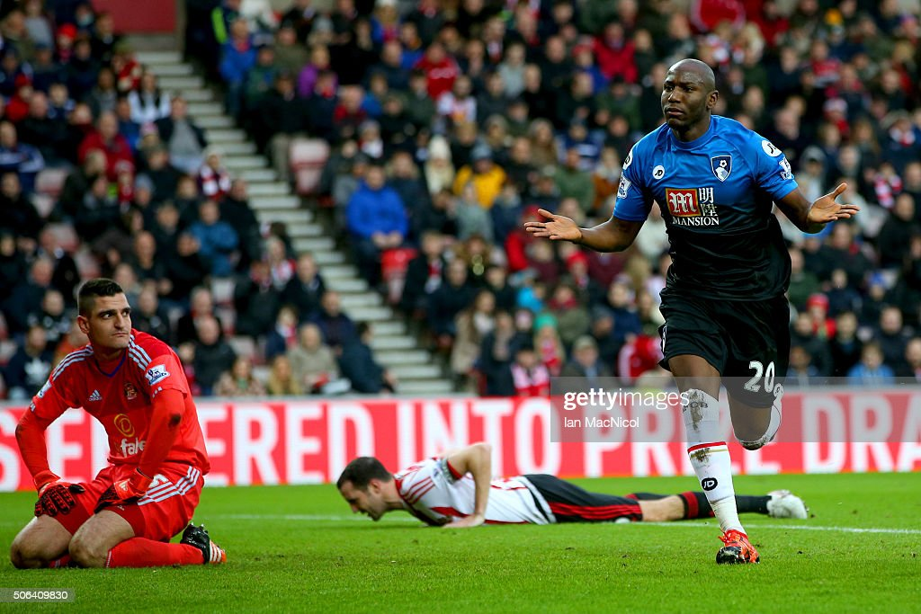 Benik Afobe of Bournemouth celebrates scoring his team's first goal during the Barclays Premier League match between Sunderland and A.F.C. Bournemouth at the Stadium of Light on January 23, 2016 in Sunderland, England.