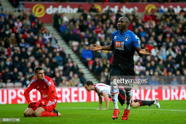 Benik Afobe of Bournemouth celebrates scoring his team's first goal during the Barclays Premier League match between Sunderland and AFC Bournemouth...
