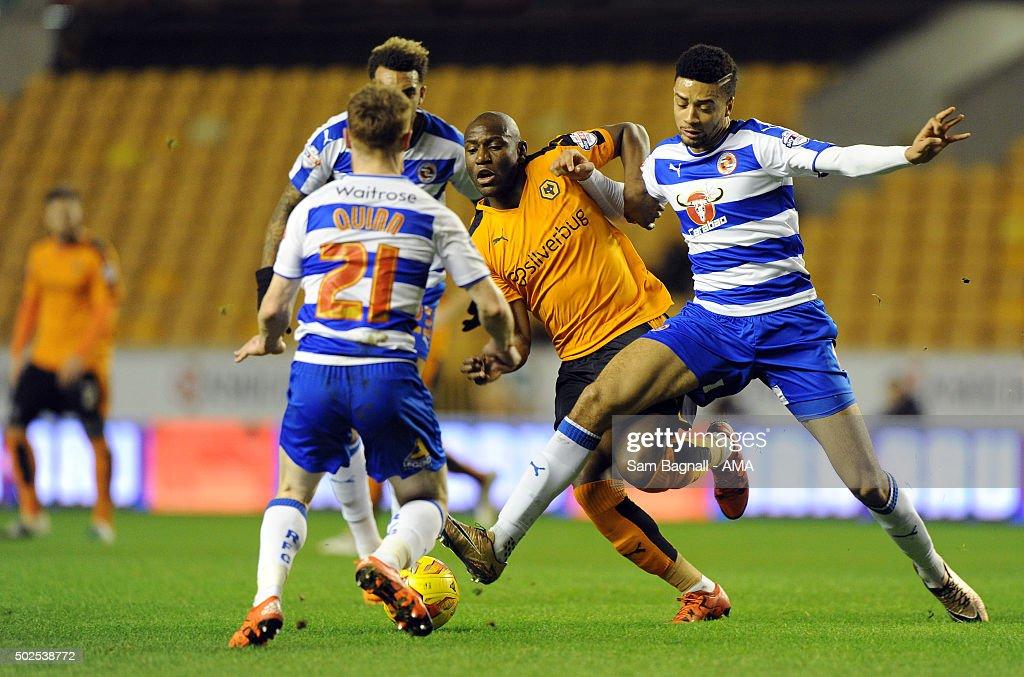 Benik Afobe of Wolverhampton Wanderers and Michael Hector ...