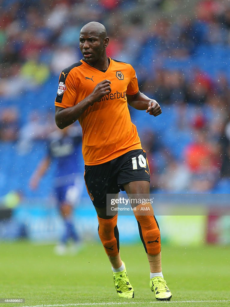 Benik Afobe of Wolverhampton Wanderers during the Sky Bet Championship match between Cardiff City and Wolverhampton Wanderers at Cardiff City Stadium on August 22, 2015 in Cardiff, Wales.