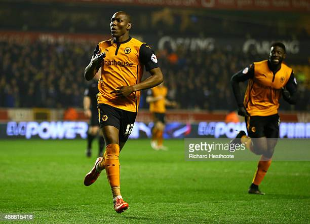 Benik Afobe of Wolves celebrates scoring the second goal during the Sky Bet Championship match between Wolverhampton Wanderers and Sheffield...