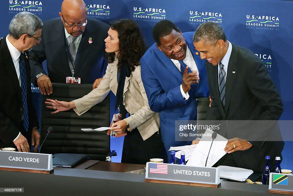 Benin President Boni Yayi (2nd R) talks with U.S. President <a gi-track='captionPersonalityLinkClicked' href=/galleries/search?phrase=Barack+Obama&family=editorial&specificpeople=203260 ng-click='$event.stopPropagation()'>Barack Obama</a> (R) before the third and final plenary meeting of the U.S.-Africa Leaders Summit at the State Department August 6, 2014 in Washington, DC. Obama hosted the last day of the first-ever summit to strengthen ties between the United States and African nations.